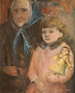 Grandmother and Little Girl with Doll by Agustín Río