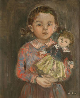 Little Girl with Doll by Agustín Río