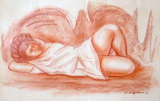 Muchacha en una Cueva by Raul Anguiano