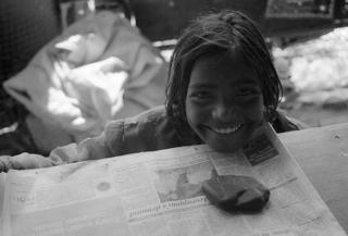 Beggar girl, India by Jamie Ball