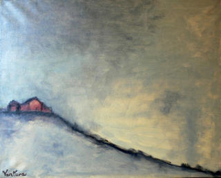 Gray Landscape with House by Victor Ventura