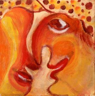 Red Masks 22 by Malka Tsentsiper