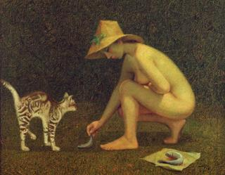 Nude with Cat by Félix Beristain
