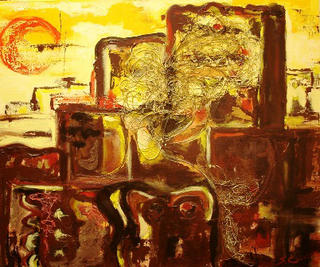 Brown Urban Yellow Sky  Canvas by Sarrias Cruxent