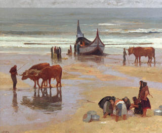 Oxen Pulling Boats by Félix Beristain