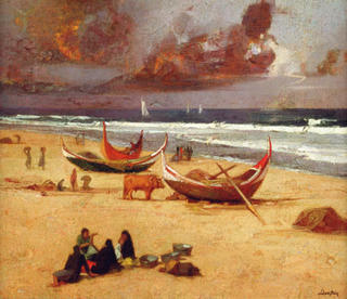 Mira Beach with Boats by Félix Beristain