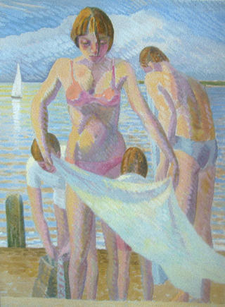 Family Group Bathing,Study by John Reay