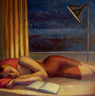 Sue Resting, Lamplight. 1 by John Reay