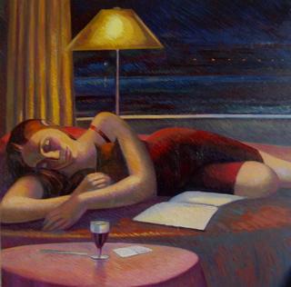 Sue Resting, Lamplight. 2 by John Reay
