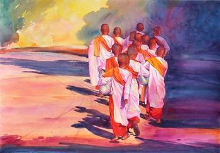 Strolling Nuns V by Khin Maung Zaw