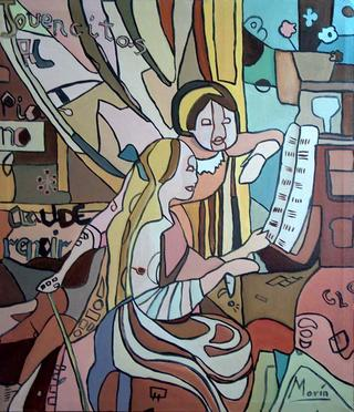 Young Girls at the Piano by Gloria E. Marin