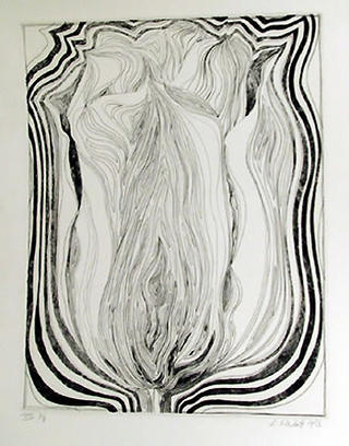 Electric Tulip (Black and White) by Lowell Nesbitt
