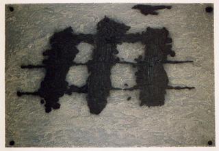 Trois Taches et Trois Lignes Noires by Antoni Tàpies