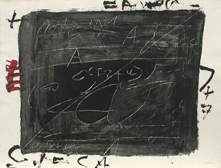 Esgrafiats Damunt Negre (Negre i Roig Series) by Antoni Tàpies