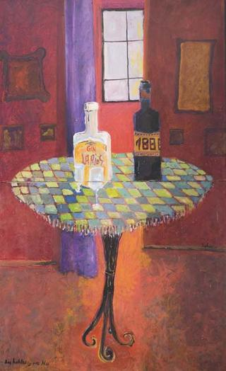 Two Bottles and a Table by Juan Dalmau Gallarza