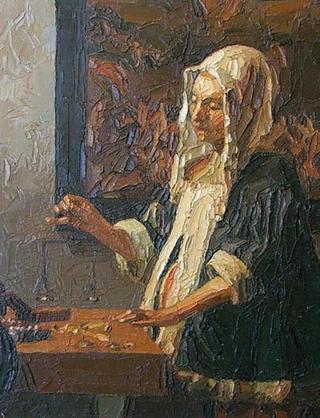 Variations on Vermeer - The Pearl Appraiser by Alvaro Amengual