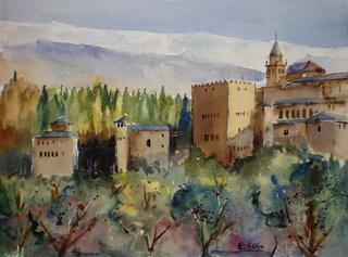 """Alhambra of Granada I by Enrique López Suárez """"Elosu"""""""
