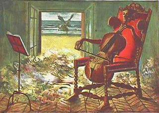 Violoncelliste by Jean Pierre Alaux