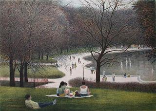 Central Park, Family Resting by Harold Altman