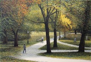 Central Park, Man and Child Walking by Harold Altman