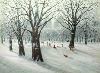 Central Park, Sledding by Harold Altman