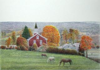 PA, Three Horses and a Church by Harold Altman