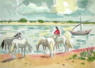 Chevaux au Bord du Rhône by Yves Brayer