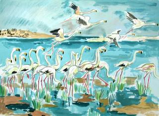 Les Flamants Roses by Yves Brayer
