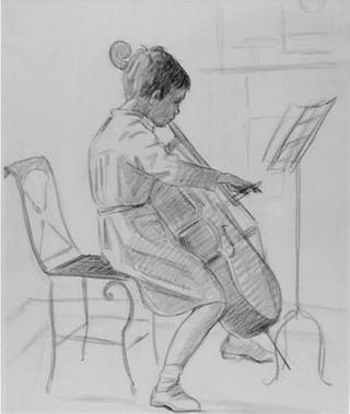 Boy Playing Violoncello by Rafael Serrano Muñoz