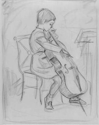 Girl Playing Violoncello by Rafael Serrano Muñoz