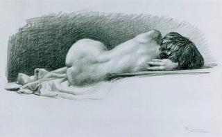 Back Nude Woman by Rafael Serrano Muñoz