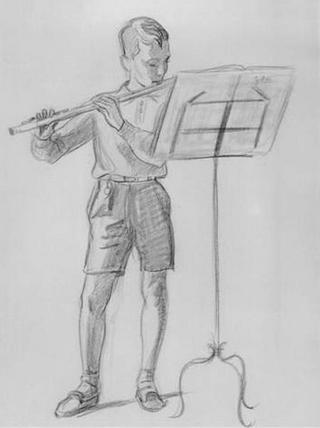 Boy with Flute by Rafael Serrano Muñoz