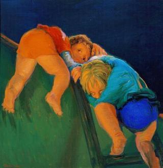 Children Jumping the Wall by Rafael Serrano Muñoz