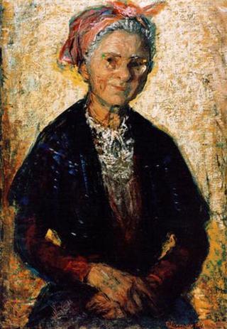 Old Woman with  Glasses and Shawl by Rafael Serrano Muñoz