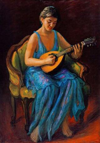 Young Girl Playing Lute by Rafael Serrano Muñoz