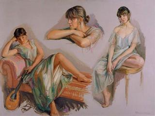 The Same Girl in Three Pose by Rafael Serrano Muñoz