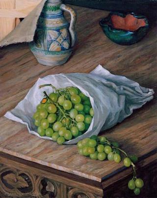 Still Life with Grapes by Rafael Serrano Muñoz