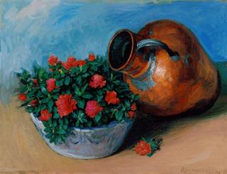 Copper with Azaleas by Rafael Serrano Muñoz