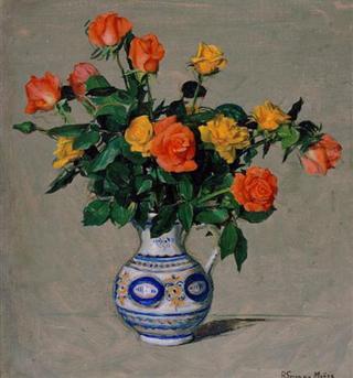 Roses in Ceramic Vase by Rafael Serrano Muñoz