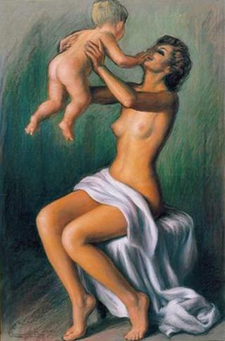 Motherhood: Child in Mother´s Arms by Rafael Serrano Muñoz