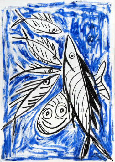 Fishes - Blue Sketch by Javier Mariscal