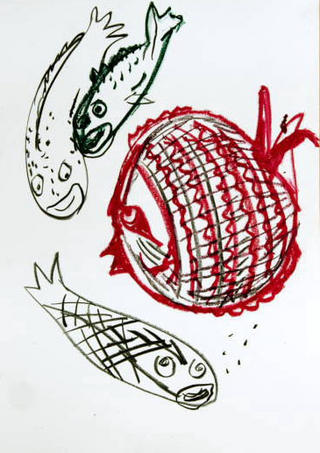 Fishes - Red Sketch by Javier Mariscal