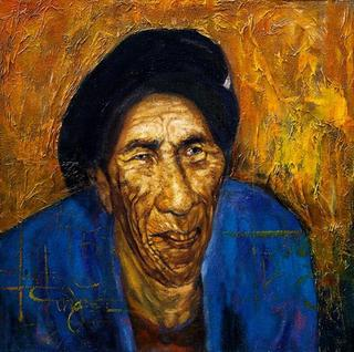 Old Woman Named Vung in Blue by Tran Trung Son