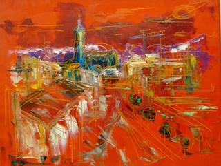Red Landscape by Uceda