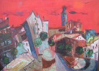 Red Landscape I by Uceda