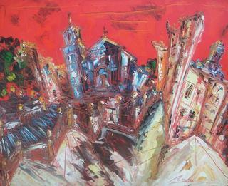 Red Landscape VI by Uceda