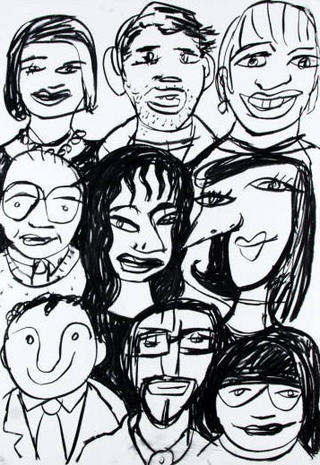 Nine Faces Looking at You by Javier Mariscal