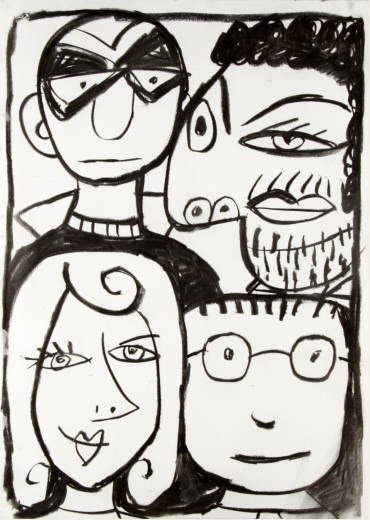 Four Characters in Black by Javier Mariscal
