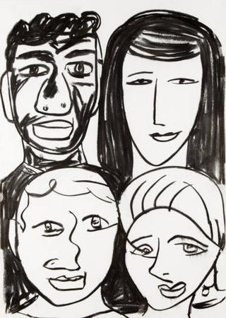 Four People in Black by Javier Mariscal
