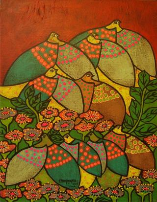 Doves Series: Between Flowers by Enrique Bustamante